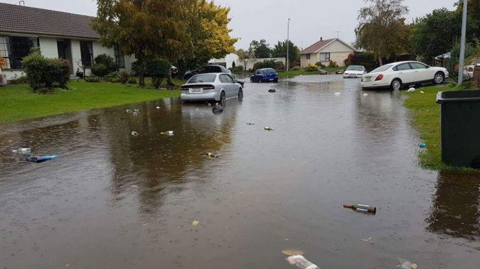 Surface flooding in Kaiapoi (Sharlene McCracken)