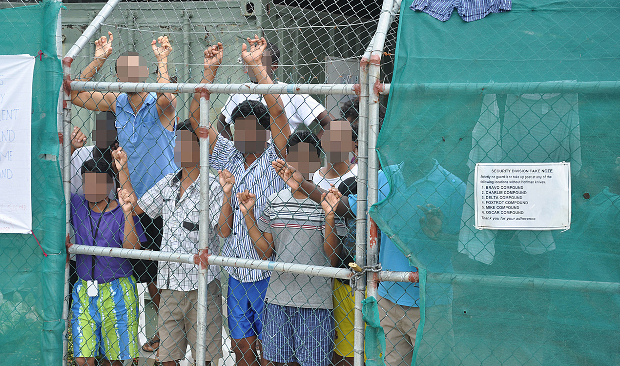 Asylum seekers at the Manus Island detention centre in 2014 (AAP)