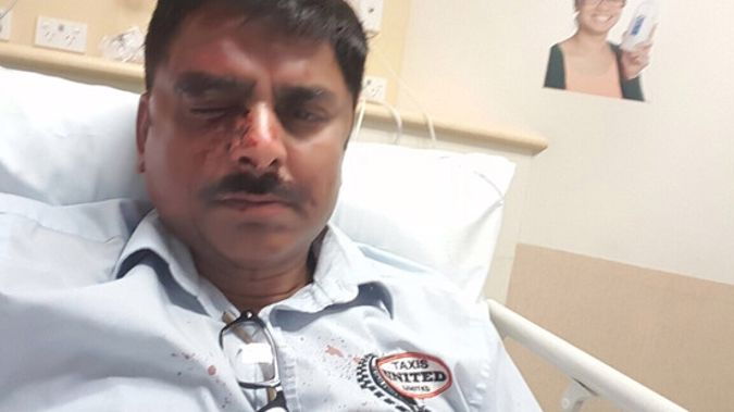 Taxi driver Vineet Mahajan, 48, in Middlemore Hospital after yesterday's attack. (NZ Herald)