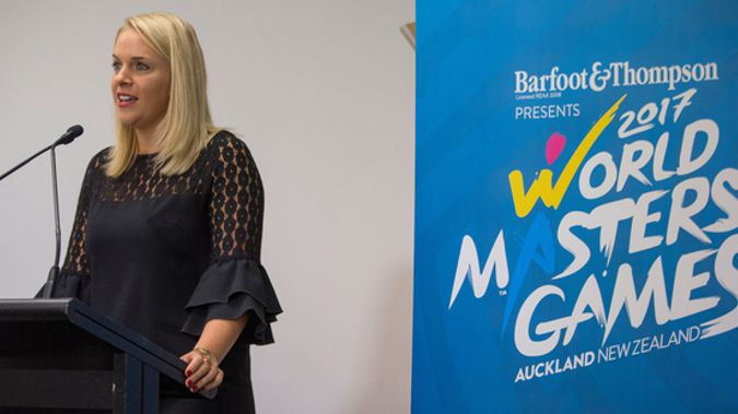 World Masters Games 2017 chief executive Jennah Wootten speaks during a 2017 press conference (Photosport).