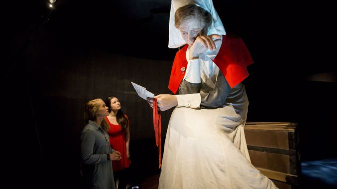 """The giant figure of nurse Lottie Le Gallais, holding the letter marked """"Killed – Return to Sender."""" (Supplied)"""