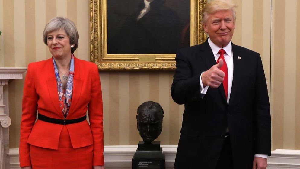 JANUARY 27: WHO - British Prime Minister Theresa May becomes first foreign leader to meet Trump. DISCUSSED - Brexit, NATO. AWKWARD MOMENT: Trump held May's hand as he led her from the Oval Office to their joint press conference. A photo of the hand-holding prompted rumours that Trump was afraid of stairs and needed help waking down a slope.