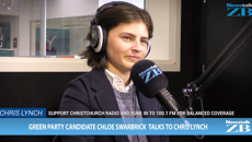 WATCH: Green Party candidate Chloe Swarbrick in studio with Chris Lynch