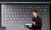 Panos Panay, vice president of Microsoft Surface Computing, with the new laptop. (Getty)