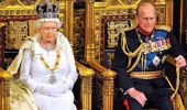 Queen Elizabeth II sits with Prince Philip, Duke of Edinburgh. (Getty)