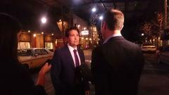 Simon Bridges on the set of Ash vs Evil Dead at the international film pre-budget announcement (Daniel Walker).