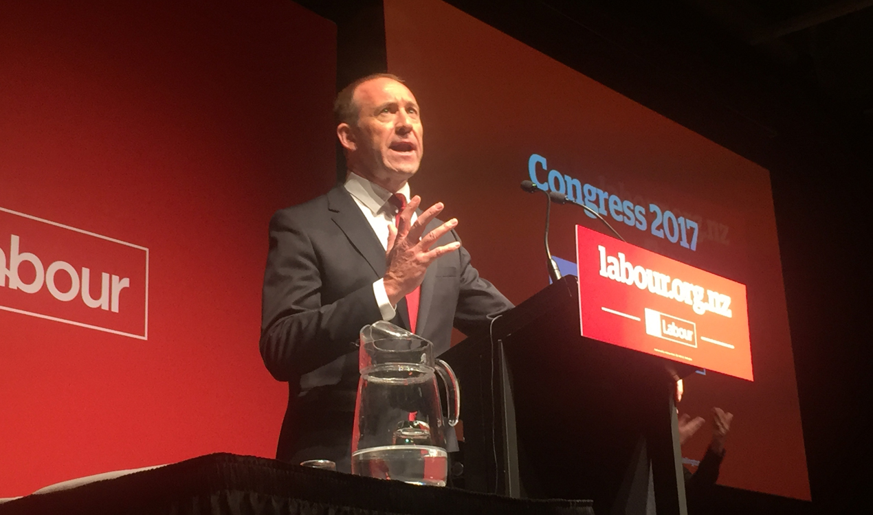 Labour leader Andrew Little addressing the party faithful (Gia Garrick)