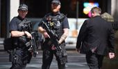 Police stand guard near the Manchester Arena. (Getty)