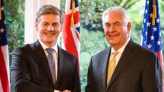 Rex Tillerson is welcomed by Prime Minister Bill English at Premier House in Wellington (Pool Photo).