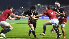 NZ Provincial Barbarians captain Sam Anderson-Heather scores a try against the British and Irish Lions (Photosport)..