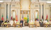 Political leaders gather for the opening of the US-Gulf summit. (Bandar Algaloud/Saudi Royal Council/Getty)