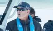 Sir Russell Coutts aboard a chase boat during the Louis Vuitton America's Cup Challenger Playoff Semi-Finals in Bermuda (Photosport)