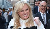 Rebel Wilson leaves the court in Melbourne.