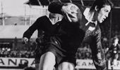 All Blacks centre Bryan George Williams breaks the tackle of Lions captain John Dawes during a test match in Dunedin, 1971. (Getty)