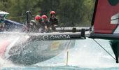 Emirates Team New Zealand cross the finish to beat Oracle Team USA. (Photosport)