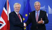 Michel Barnier (R), chief negotiator for the European Union meets Secretary of State for Exiting the European Union David Davis, ahead of the start of Brexit negotiations in Brussels, Belgium (Getty Images)