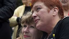 Anna Osborne (right), is comforted by her sister-in-law Sherryl Osborne, after a protest speech at Parliament in December last year. Photo/File
