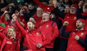 Lions fans celebrate victory during the match between the Crusaders and Lions. (Photo \ Getty Images)