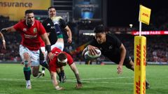 Rieko Ioane of the All Blacks dives over to score his team's second try (Getty Images)