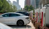 A Tesla super charging station in Beijing. (Getty)