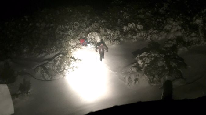 The lost skier was found at 2.30am in deep snow drifts. Photo/Greenlea Rescue Helicopter