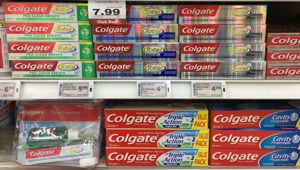 The toothpaste contains the chemical triclosan, which has been banned in a number of countries. (Photo \ Frances Cook)