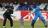 Mithali Raj of India plays a shot off in front of Rachel Priest of the White Ferns. (Photosport)