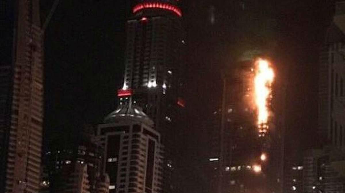 Towering inferno: Huge fire rips through Dubai apartment block