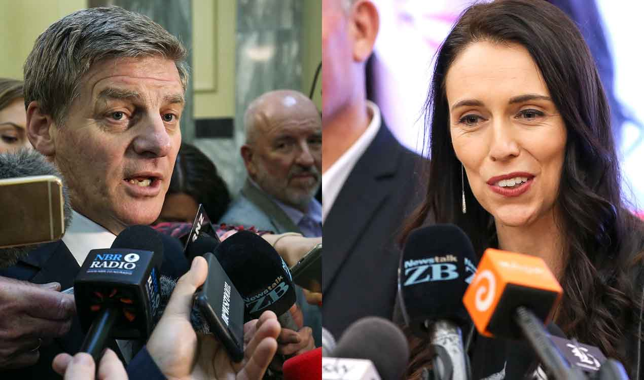 National Party leader Bill English (L) and Labour leader Jacinda Ardern (Getty Images)