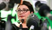 Metiria Turei speaks during a press conference on August 4, 2017 in Wellington, New Zealand. Getty Images.