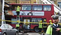 Two rescued, nine injured in London bus crash