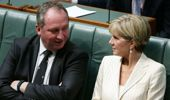 Australia's Minister for Foreign Affairs Julie Bishop talks to Deputy Prime Minister Barnaby Joyce at Parliament House. Getty Images.