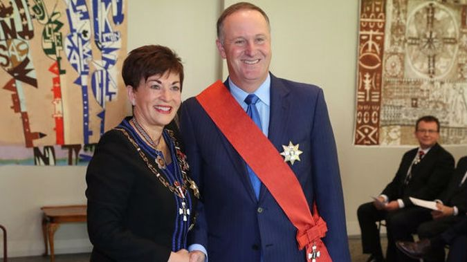 Former New Zealand Prime Minister Sir John Key with New Zealand Governor-General Dame Patsy Reddy at Government House in Auckland. Photo / Peter Meecham