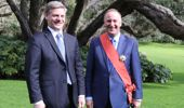 Former New Zealand Prime Minister Sir John Key pictured with current New Zealand PM Bill English after being knighted. Photo / Peter Meecham