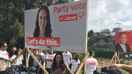 Ardern unveils Labour's new billboards in Auckland
