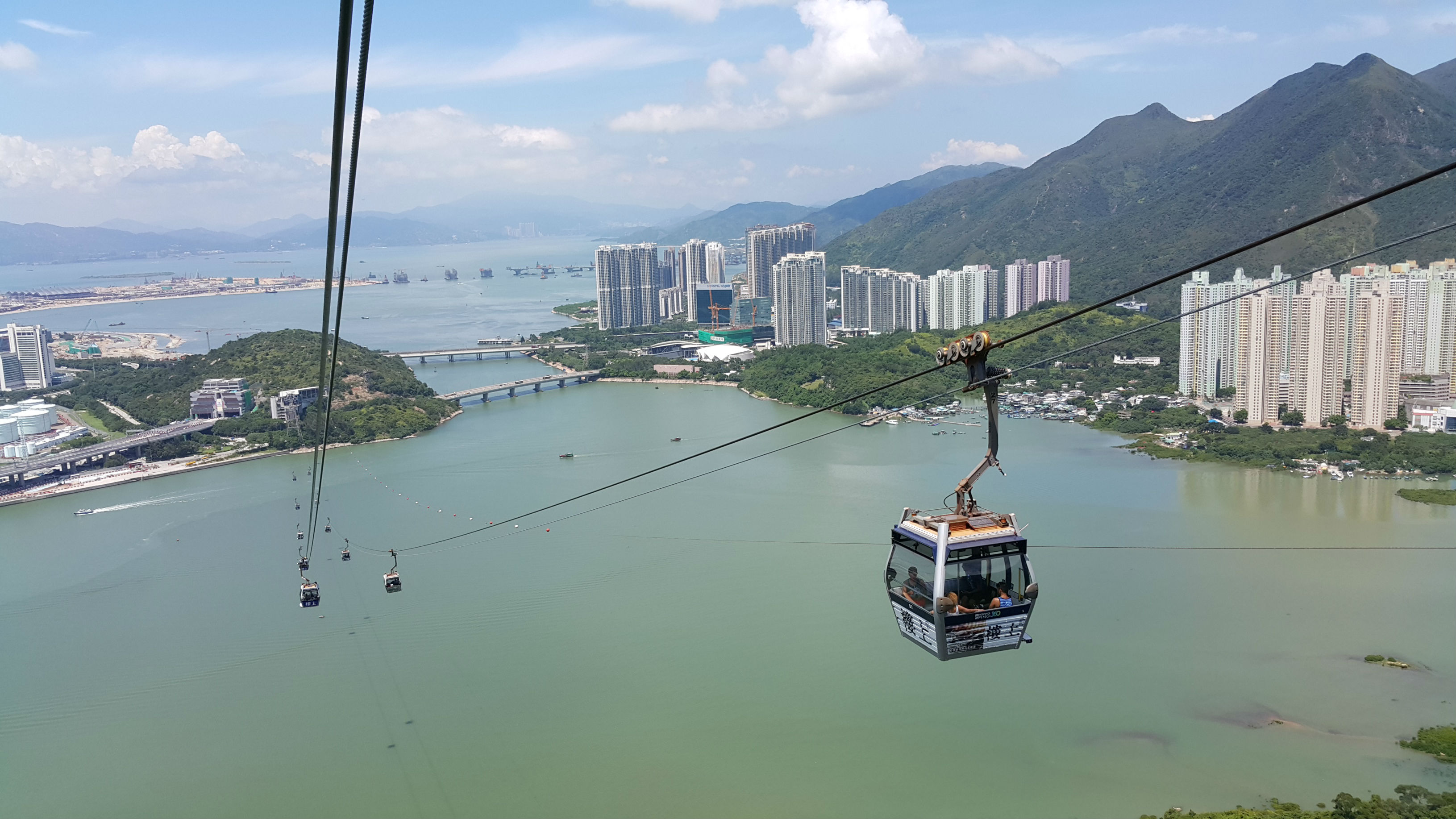 The best way to reach the main village of Ngong Ping, near the statue, is by taking the cable car, known as Ngong Ping 360. (Photo \ Chris Lynch)