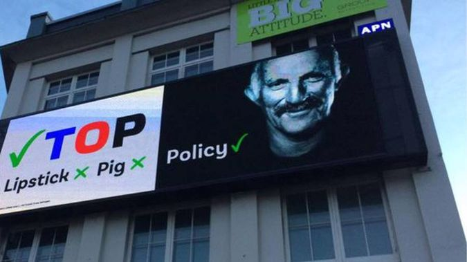 The Opportunities Party is seizing on the latest political furore referencing controversial remarks on billboards. (Photo / via Twitter)