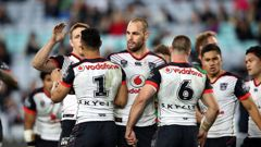Warriors celebrate a try against the Rabbitohs at ANZ Stadium, Sydney. Photo/Photosport
