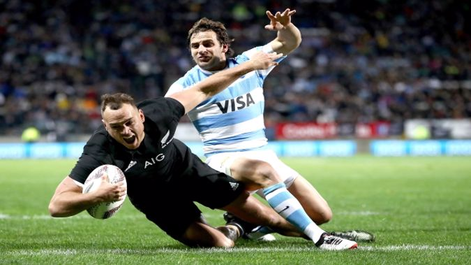 Israel Dagg scores for the All Blacks in New Plymouth. (Photo: Getty)
