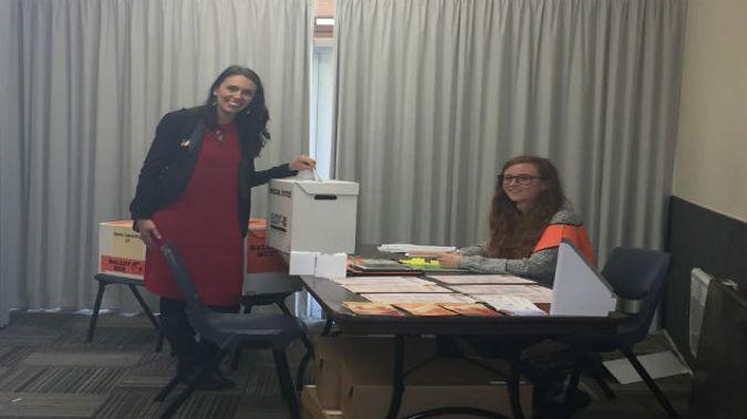 Jacinda Ardern casts her vote (Photo: Gia Garrick)