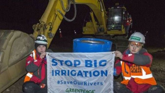 It follows two recent protests in Canterbury, where activists chained themselves to irrigation equipment, and occupied the Central Plains Waters' dam.  (Photo / via Greenpeace)