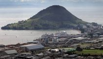Container ship on fire in Tauranga port