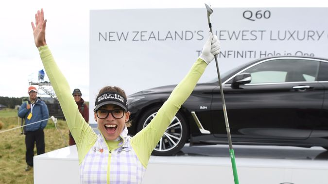 Spain's Belen Mozo celebrates her hole in one on the 13th tee. (Photosport)