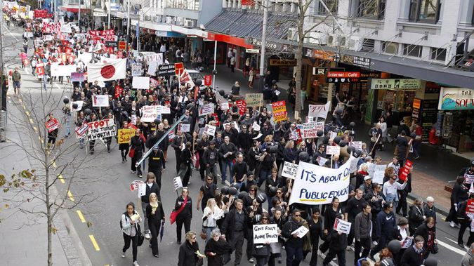 Thousands of secondary school teachers marched down Queen St demanding fair pay in 2010. (Photo / Wayne Drought)