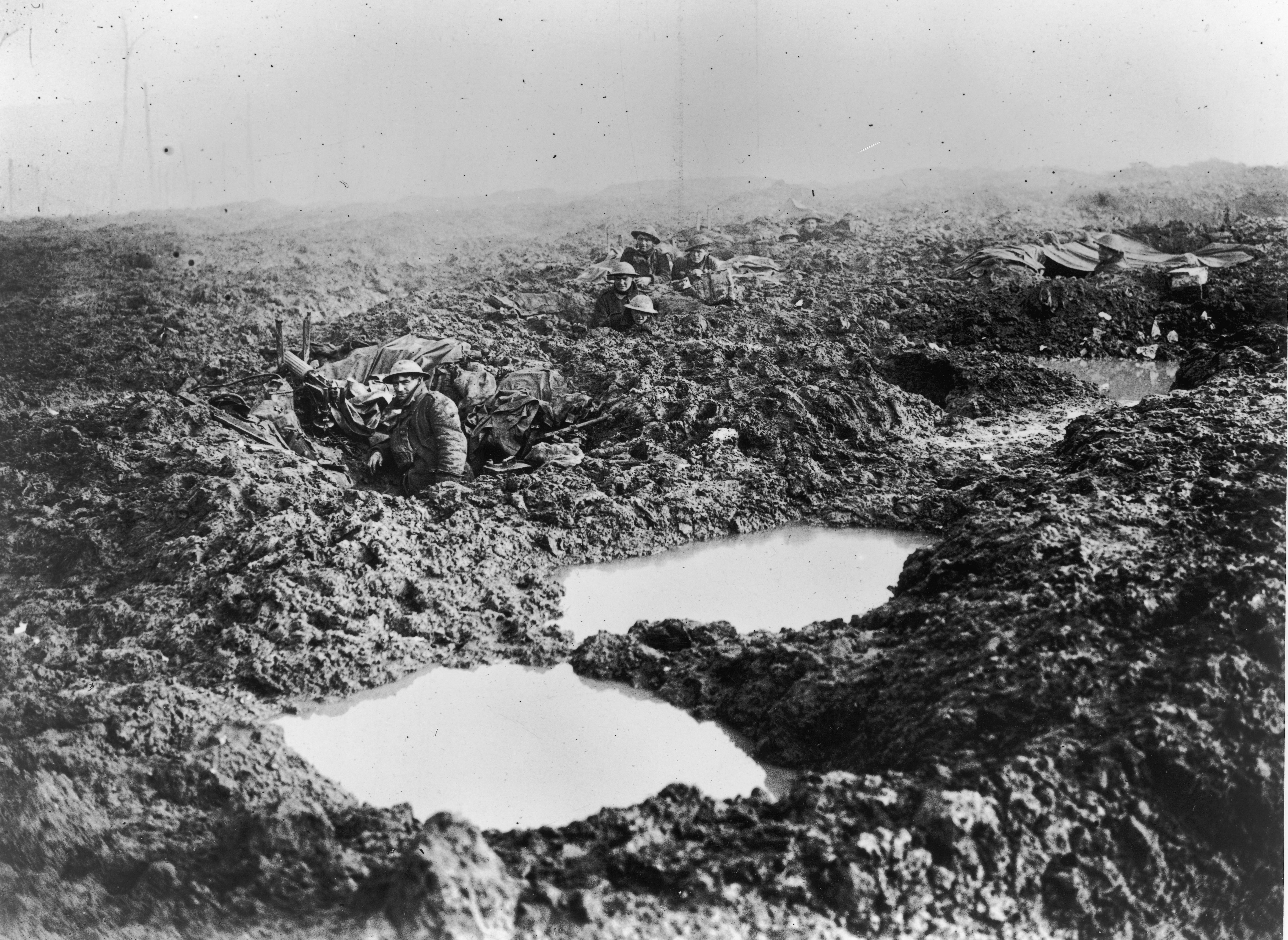 Soldiers in the Trenches during the Battle of Passchendaele on November 1, 1917.