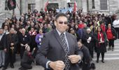Hone Harawira with supporters outside Parliament (Newspix)