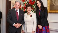 Jacinda Ardern, crowned Queen by Winston Peters, has now officially been sworn in as Prime Minister of New Zealand. (Photo \ Getty Images)