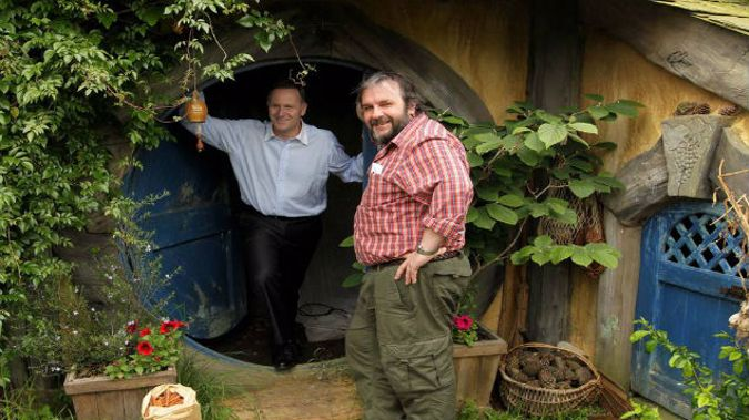 John Key with Peter Jackson on the set of The Hobbit. Key defended the deal with Warners, pointing to the employment of 3000 people during the filming  (Photo: Alan Gibson/ NZ Herald)