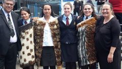 Organisers of the petition seeking NZ Wars national commemoration day, from left, Rahui Papa, Tai Jones (in cloak), Waimarama Anderson, Leah Bell, Rhiannon Magee and Mariana Papa. (Supplied)