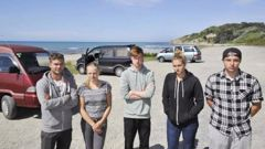 The young freedom campers visiting Gisborne from Germany. (Photo / Liam Clayton)